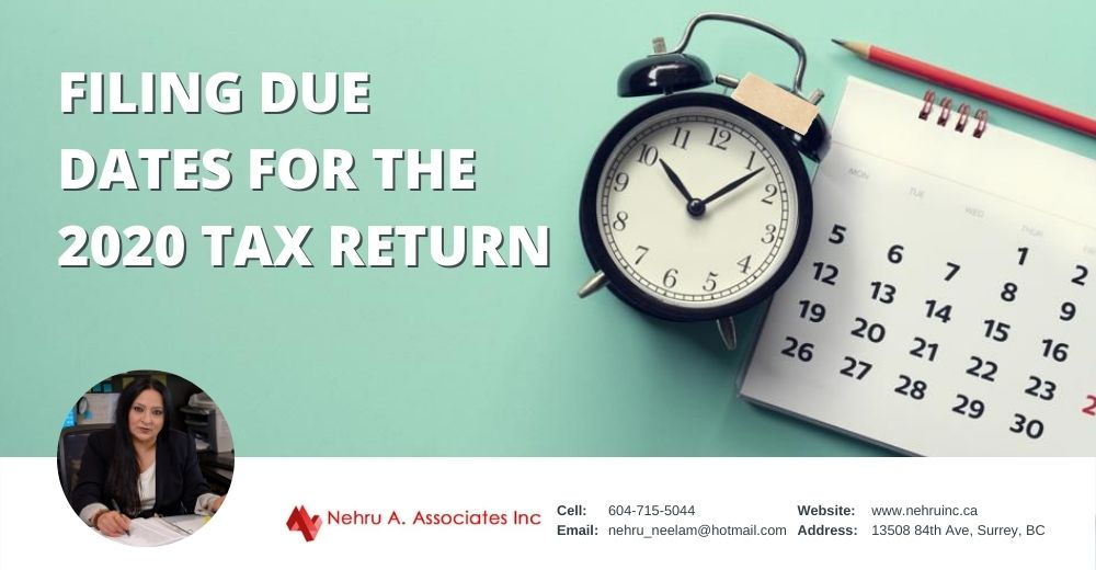 Filing due dates for the 2020 tax return